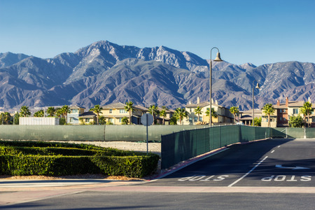Streets of Ontario city in California with beautiful mountains in the background
