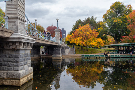 BOSTON, USA - OCTOBER, 2015: Pond in Boston Garden park on a cloudy day in fall season