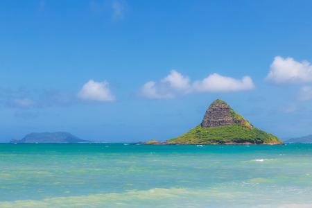 Chinamans hat island view and beautiful turquoise water at Kualoa beach, Oahu, Hawaii