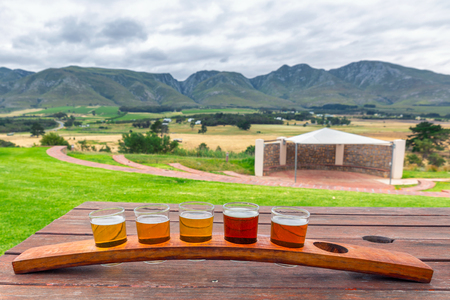 Beer tasting glasses on a wooden tray outside the brewery with a beautiful view of the mountains in South Africa