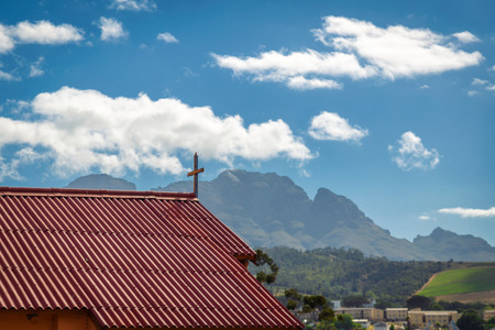 STELLENBOSCH, SOUTH AFRICA: Church of Kayamandi township and beautiful view of the mountains Stock Photo