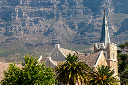Gardens presbyterian church and Table Mountain in Cape Town, South Africa