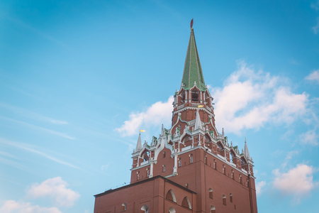 Kremlin tower and cloudy blue sky in Moscow, Russia