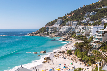 Clifton beach view and coastline buildings in Cape Town, South Africa