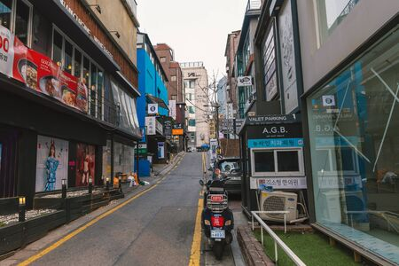 SEOUL, SOUTH KOREA - MARCH, 2019: Famous Garosu-gil area streets in Gangnam, Seoul