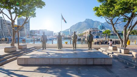 CAPE TOWN, SOUTH AFRICA - NOVEMBER, 2018: Nobel Square with the four statues commemorating south-african Nobel prize winners