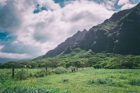 Kualoa mountain range view, famous filming location on Oahu island, Hawaii