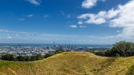 Auckland city skyline view and volcano crater of Mount Eden