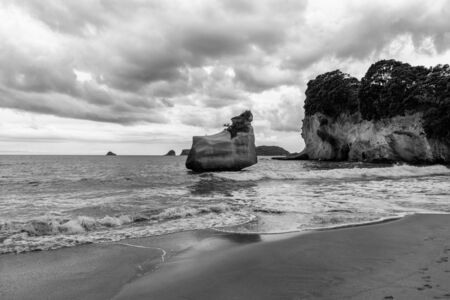 Big rock in the sea, black and white natural landscape image