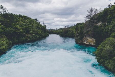 Powerful river flow at Huka falls in Taupo, New Zealand Banco de Imagens