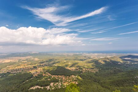 Mallorca island nature view with hills and forests from the mountain in Felanitx Banco de Imagens