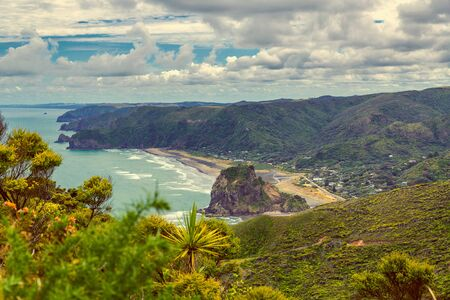 Piha beach view, western coast of Auckland, New Zealand