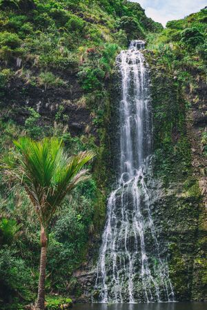 Karekare high waterfall near Auckland, New Zealand