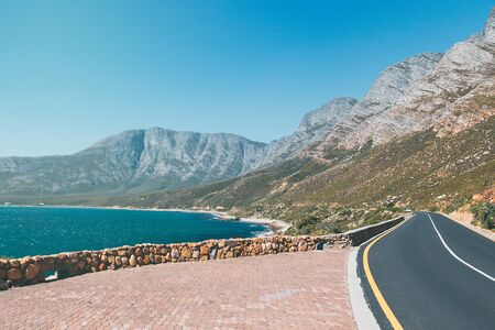 Cape peninsula scenic drive with ocean and mountains view, South Africa Banco de Imagens