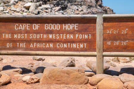 Wooden sign at Cape of Good Hope, famous place in South Africa
