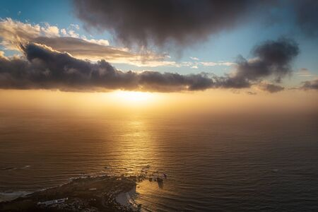 Lions head top view at sunset with beatiful clouds in the sky, Cape Town, South Africa