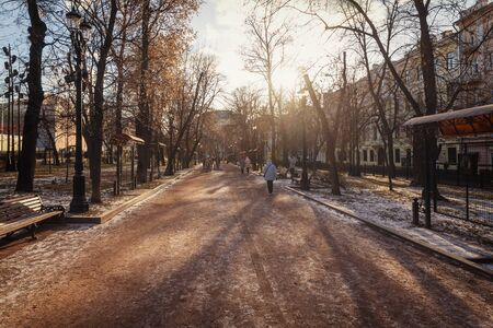 Gogol boulevard - walking street in Moscow city center in early winter on a sunny day Banco de Imagens