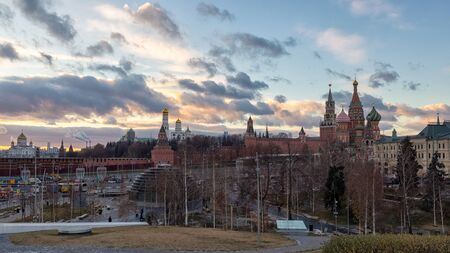 Moscow city center view at sunset