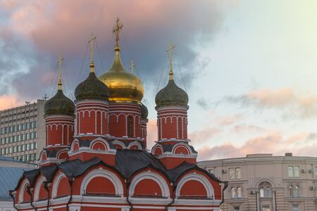 Orthodox church in Moscow city center evening view