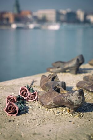 Shoes on the Danube Bank, famous sculpture in Budapest in memory of killed jews during second World War