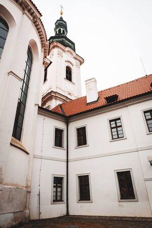 Strahov Monastery old white building facade in Prague, Czech Republic Stock Photo