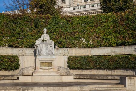 VIENNA, AUSTRIA - OCTOBER, 2019: Empress Elisabeth statue in Volksgarten park in Vienna city center