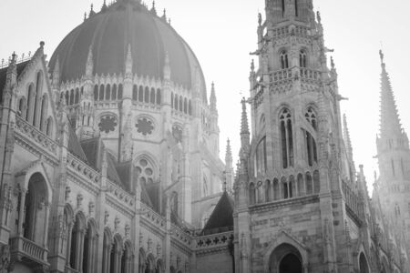 Black and white Hungarian Parliament gothic facade image in Budapest city