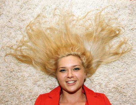 Happy blond woman photo