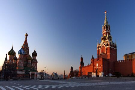 St. Basils & The Kremlin at Moscow at Night from Red Square photo