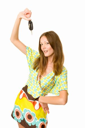 woman holding keys to her car photo