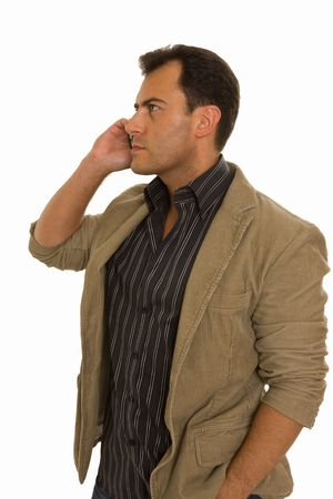 attentiveness: Young man talking on the phone