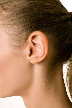 human ear: A close-up portrait of a female ear and neck