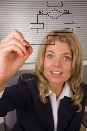 business woman designing a database plan on a screen Stock Photo - 3978398