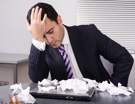 financiele crisis: Gefrustreerde zakenman. Financiële crisis