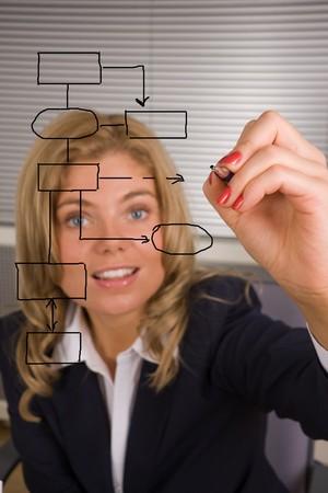 dataflow: mujer de negocios el dise�o de un plan de base de datos en una pantalla