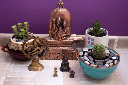 shakti: statues of Hindu gods and succulents in ceramic pots on purple background wall