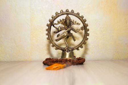 nataraja: the statue of Shiva and Rudraksha Stock Photo