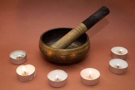 tibetian: Tibetian Singing bowl with candles