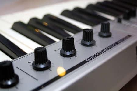 midi: Close up MIDI Controller, keys  and feders