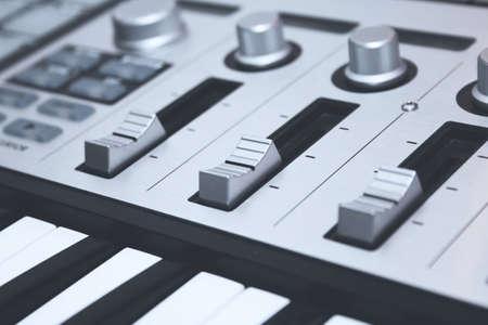midi: Close up MIDI Controller, keys  and faders