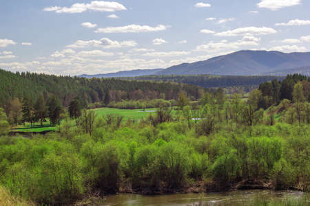 ural: landscape with forest on the background of the Ural mountains on a clear Sunny day