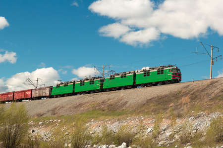 freight train goes on rails