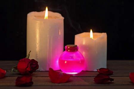 Poción de amor rosa mágica