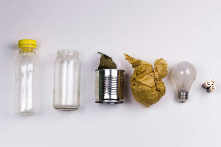 different types of household garbage top view