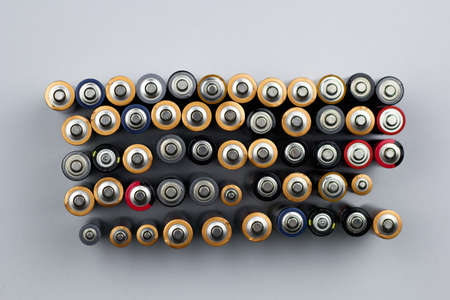 top view  rows of used batteries
