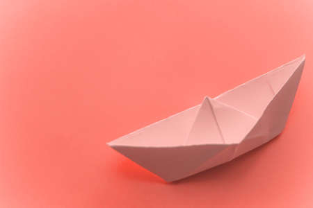 origami paper boat toned copy space
