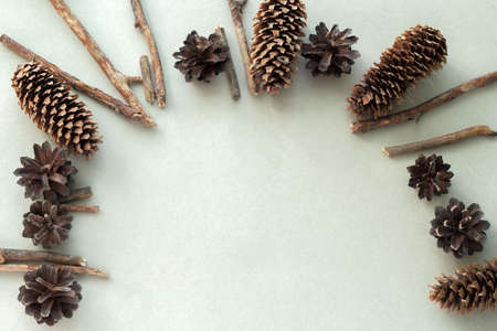 top view flat lay pine cones and wooden branches frame on a gray background