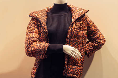 mannequin in a shop window behind glass wearing a black turtleneck and a leopard print jacket