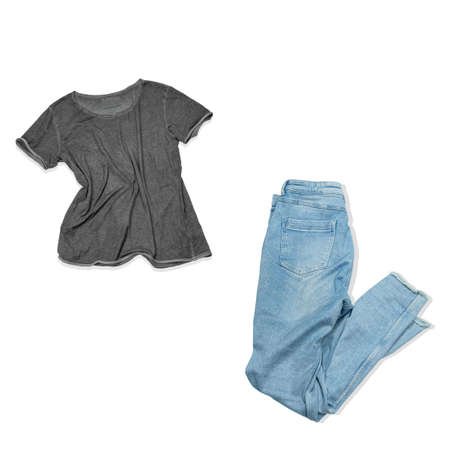 fashion collage blue jeans and gray shirt isolated on white background, unisex fashion look on white Imagens