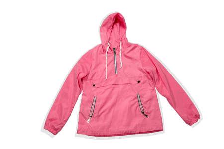 pink fashionable raincoat isolated on a white background